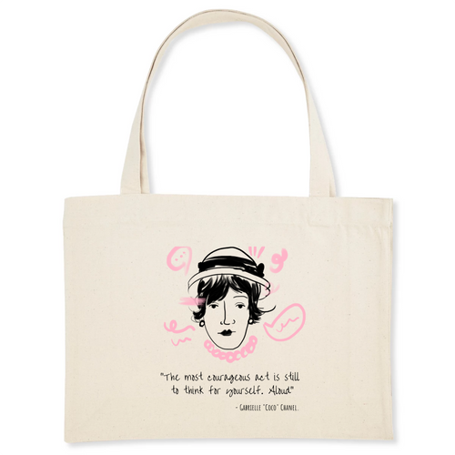100% organic material tote bag with stylish Coco Chanel illustration and quote great gift for women fashion lovers