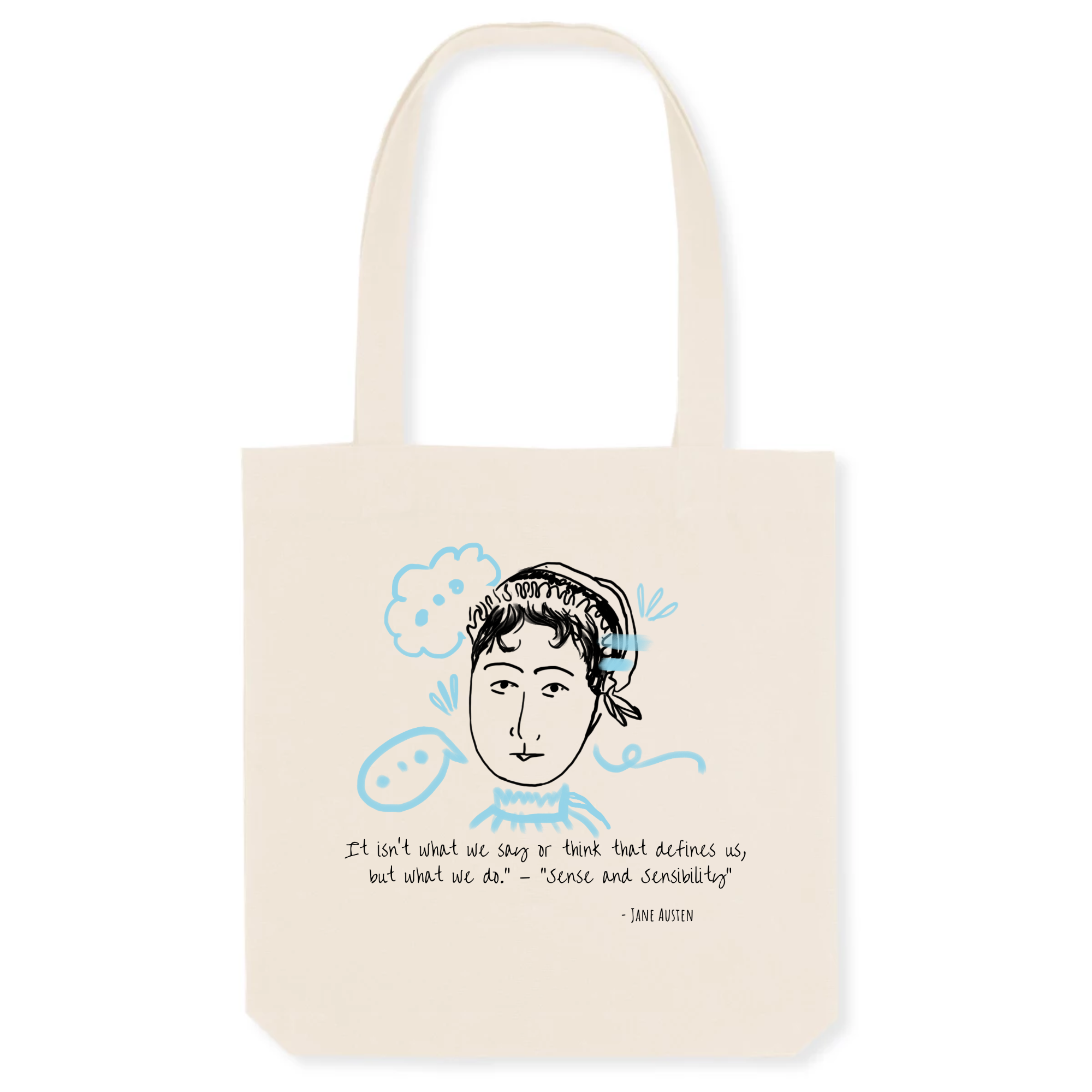 100% organic material tote bag with stylish Jane Austen illustration and quote great gift for women book lovers