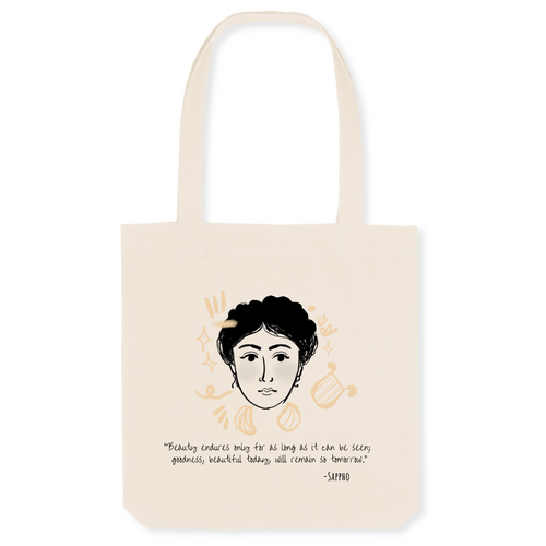 100% organic material tote bag with stylish Sappho illustration and quote great gift for women history and book lovers