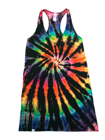 Lady's ROYGBIV+ Reverse Tie Dye Racerback Dress - The Tie Dye Company