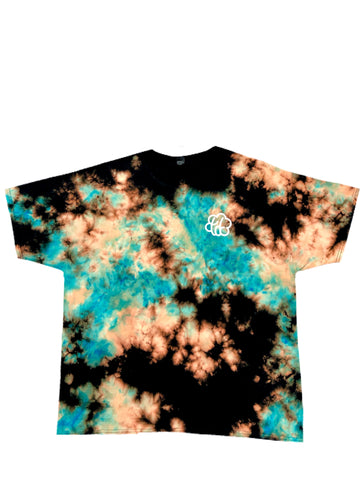 Reverse Aqua Gold Cloud Tie Dye Short Sleeve T-Shirt - The Tie Dye Company