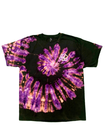 Purple Reverse Tie Dye Spiral Short Sleeve T-Shirt - The Tie Dye Company