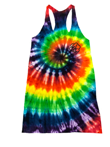 "Lady's ""Roy G. Biv"" Tie Dye Racerback Dress - The Tie Dye Company"