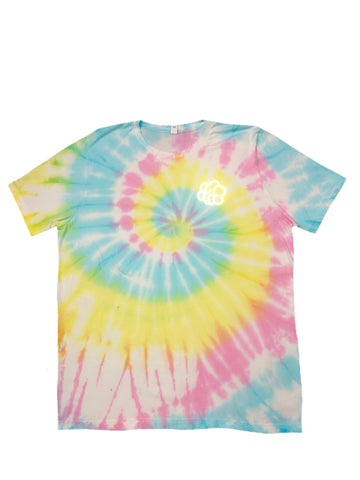 Cotton Candy Swirl Short Sleeve T-Shirt (White Contrast) - The Tie Dye Company