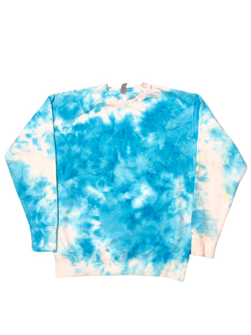Aqua Tie Dye Fleece Crewneck