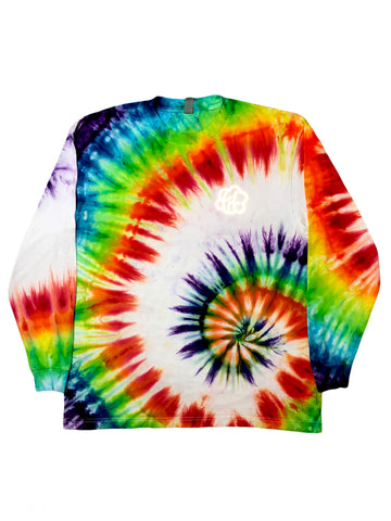 ROYGBIV+ Low Spiral Tie Dye Long Sleeve T-Shirt - The Tie Dye Company