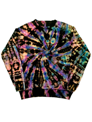 Reverse Tie Dye Swirl Galaxy French Terry Pullover Crewneck - The Tie Dye Company