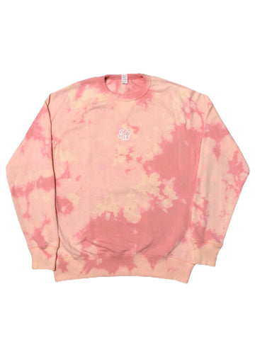 Blush Pink Tie Dye French Terry Crewneck Sweater - The Tie Dye Company