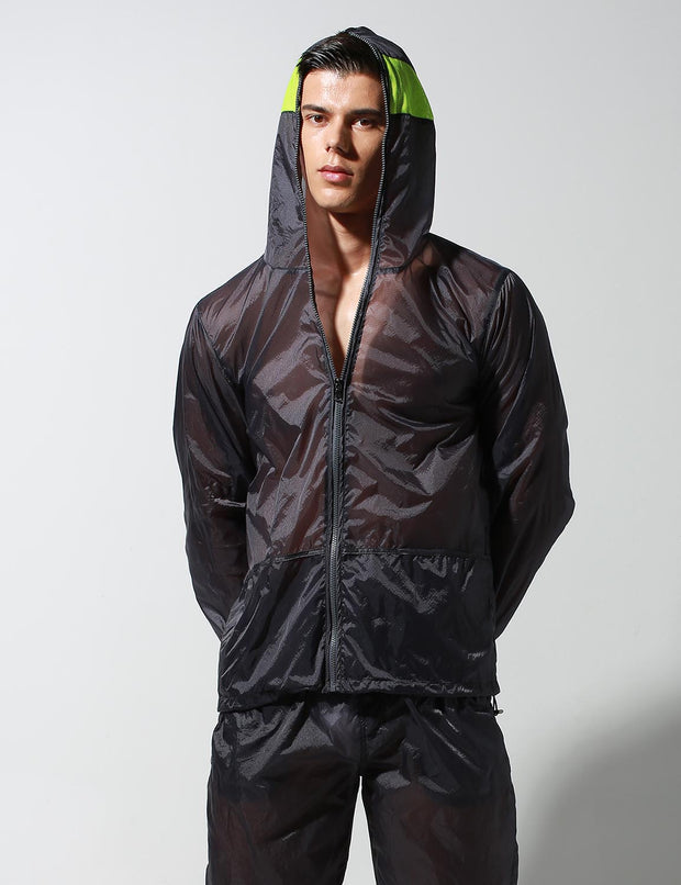 Translucent Quick-Dry Sport Long Sleeve Hooded Jacket S2902