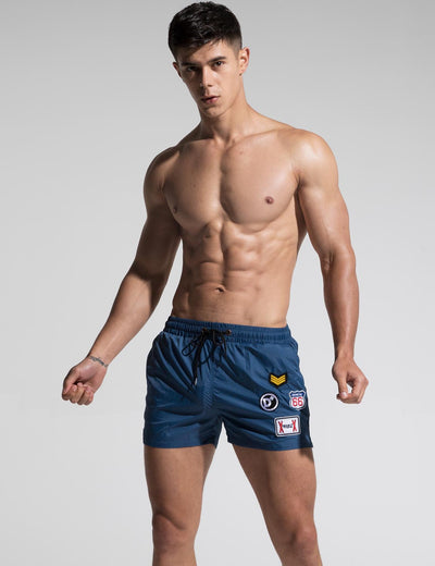 Quick-Dry Sport Swim Beach Surf Badge Shorts S609