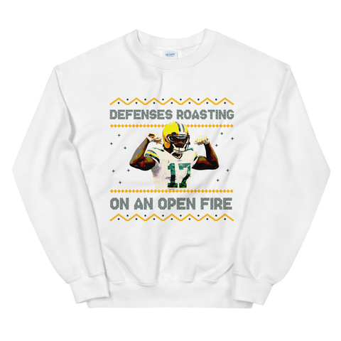 Defenses Roasting Ugly Sweater, White/Gold/Green