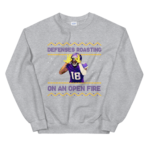 Defenses Roasting Ugly Sweater, Grey/Purple/Gold