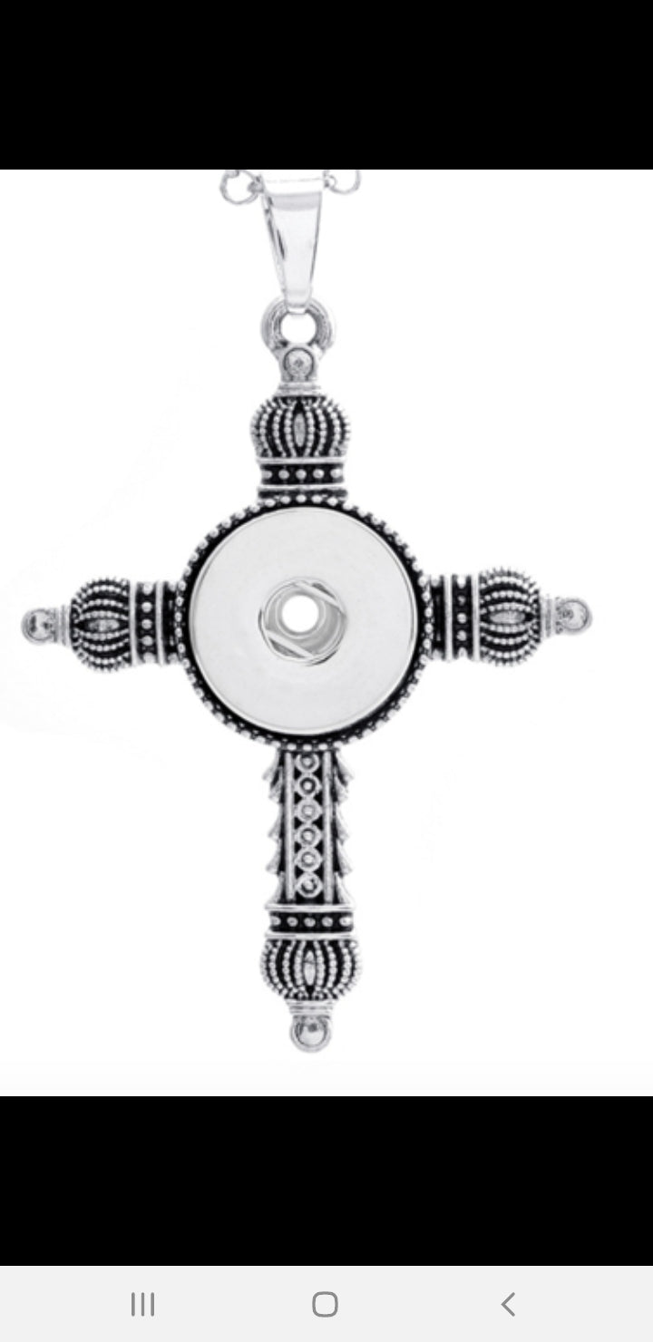 Cross snap button necklace