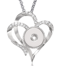 Load image into Gallery viewer, Double Heart snap button necklace