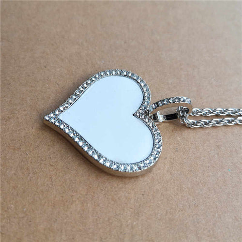Large  Heart Necklace with Rhinestones