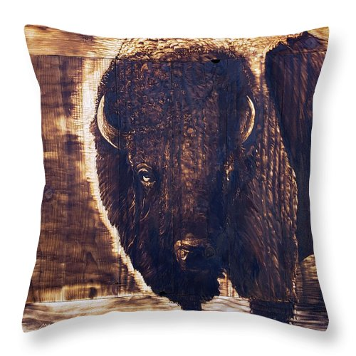 Bison Bust: THROW PILLOW