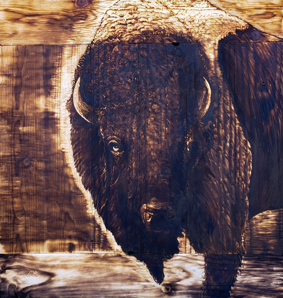 Bison Bust: WOOD PRINT