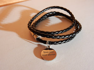 You Are Not Alone Bracelet - Sythetic Leather Black