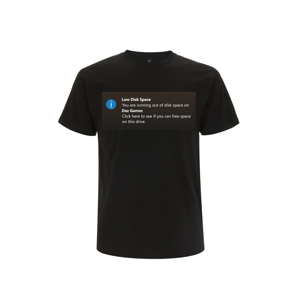 Low Disk Space' Black T-Shirt