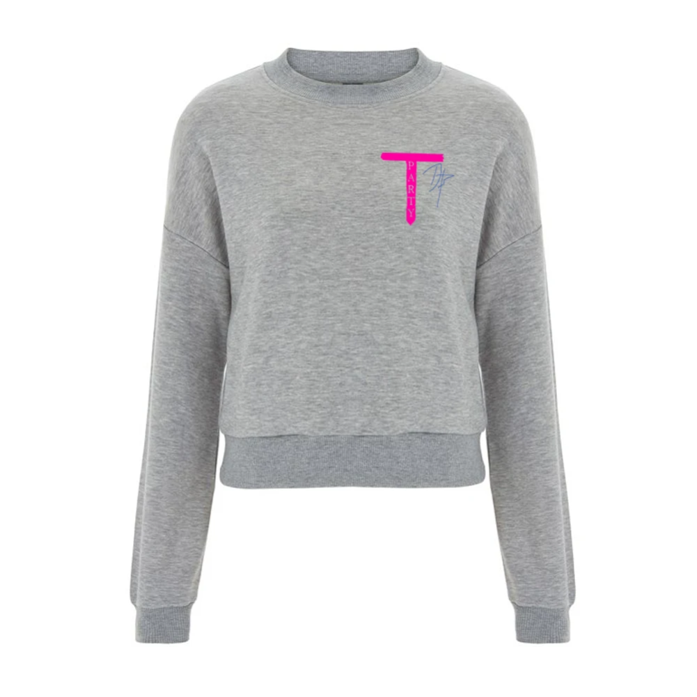 T-Party' Ladies Grey Cropped Jumper