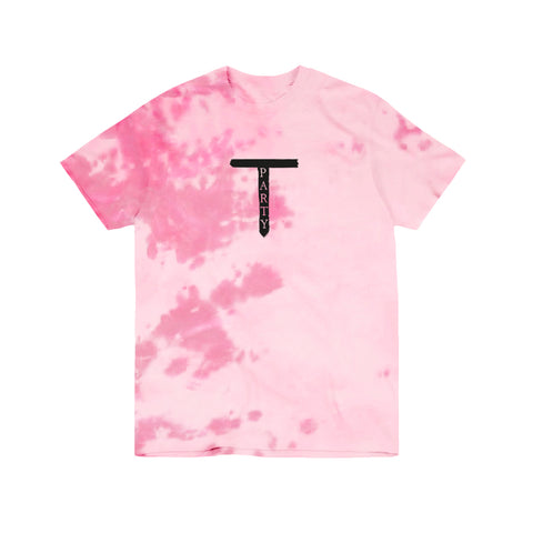 MARBLE DYE T-PARTY LOGO PINK T-SHIRT