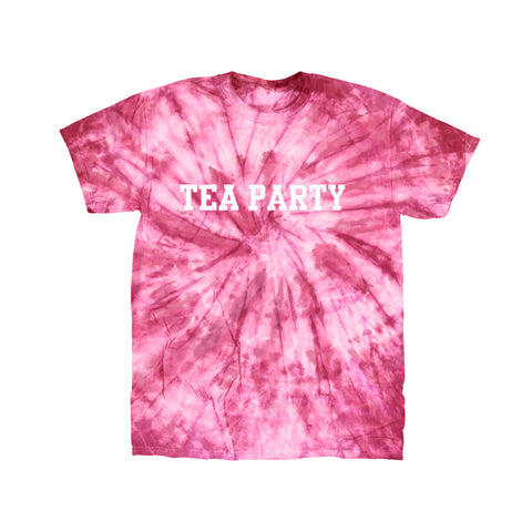 SPIDER DYE TEA PARTY TEXT LOGO PINK T-SHIRT