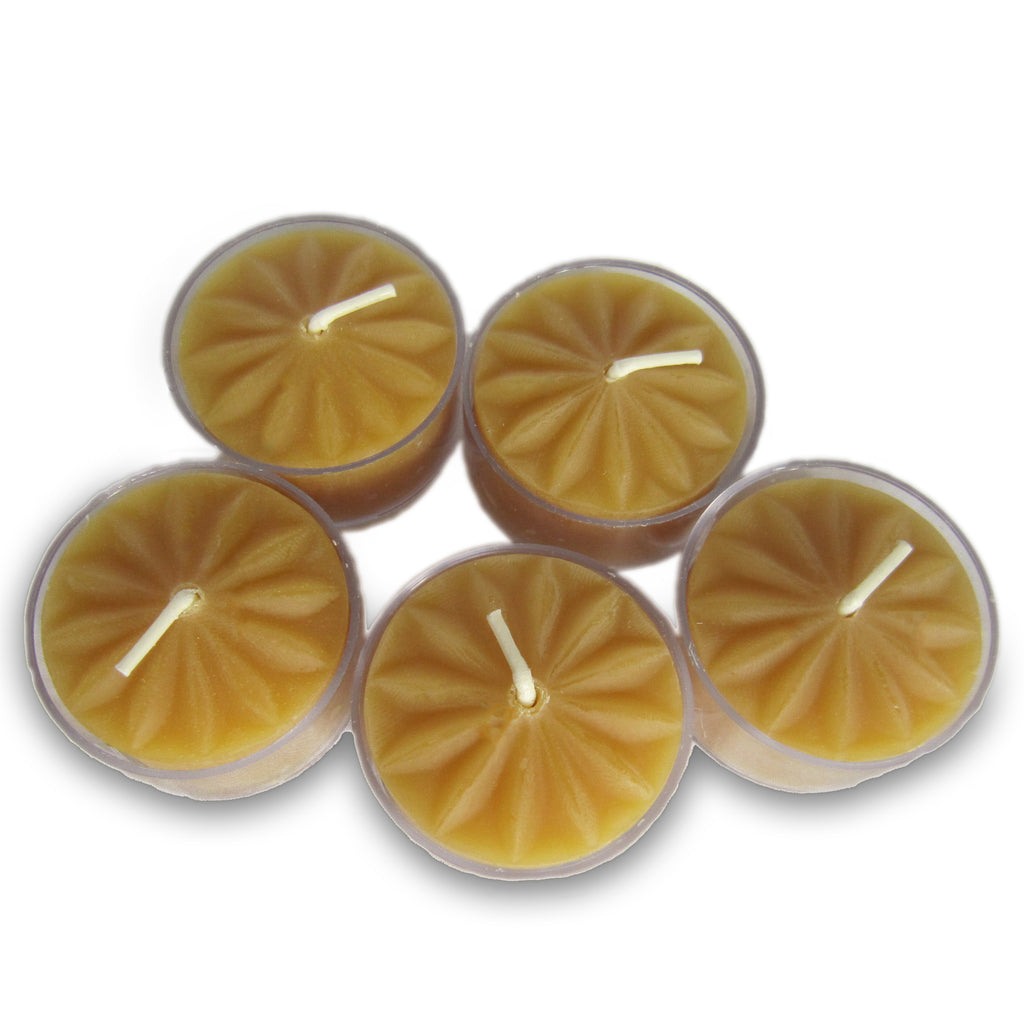 Decorative Beeswax Tealight ~ Clear Cups ~ 25 or 50 pack