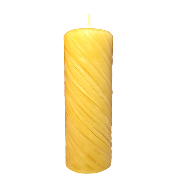 "Beeswax Decorative Swirl Pillar ~ 3""x 3.5"""