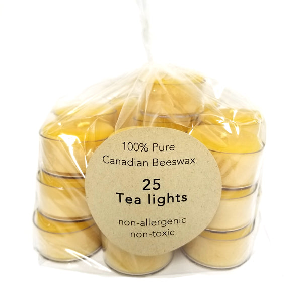 25 pack of 100% pure beeswax tealights in clear cup - large