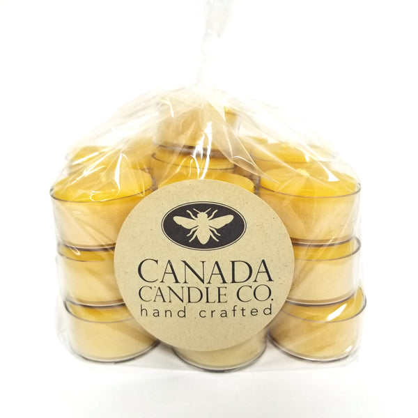 25 pack of 100% pure beeswax tea lights in clear cup - large