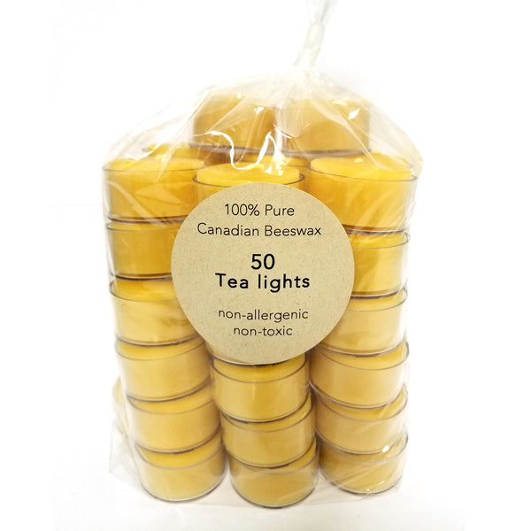 100% pure beeswax tealights 50 pack