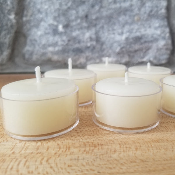White Beeswax Tealight Large ~  Clear Cups  ~  25 or 50 pack