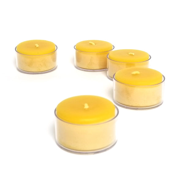 100% pure beeswax tealights in clear cups