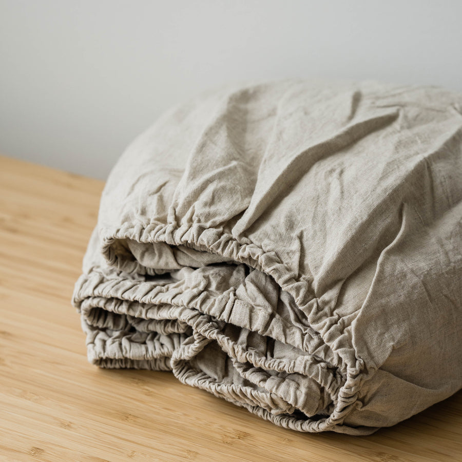 Linen Fitted Sheet In Natural