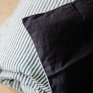 Toddler Duvet Cover Set In Charcoal + Charcoal Stripe