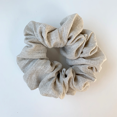 Puffy Linen Scrunchie - Oatmeal