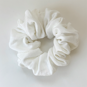 Puffy Linen Scrunchie - White