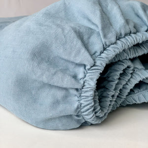 Limited Edition Linen Crib Sheet In Powder Blue