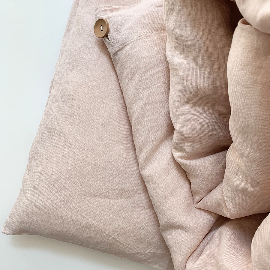 100% Linen Duvet Cover Set In Light Pink