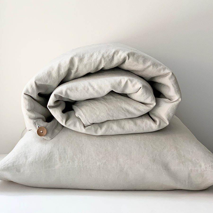 100% Linen Duvet Cover Set Soft Grey