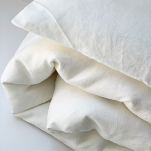 100% Linen Duvet Cover Set In White