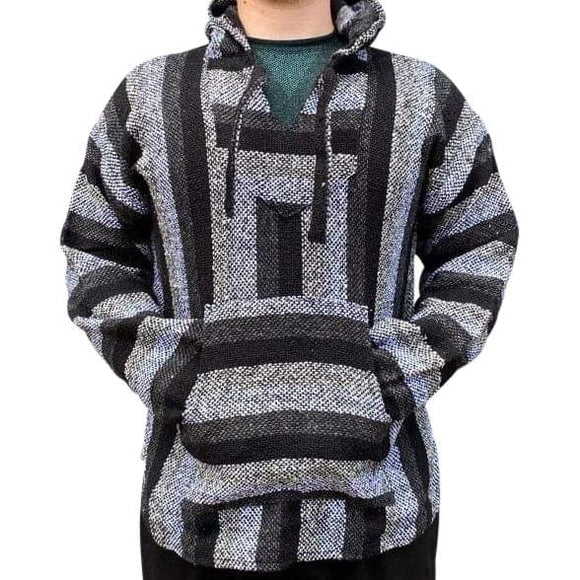 Mexican Surfer Baja Hoodie Black & Grey baja hoodies,