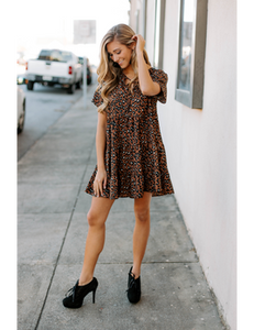 Leopard Tier Vneck Dress