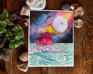 Full Moon Foghorn Print - The Pearl of Door County