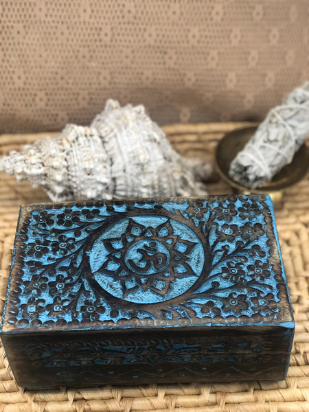 Wooden Treasure Box - Blue Lotus