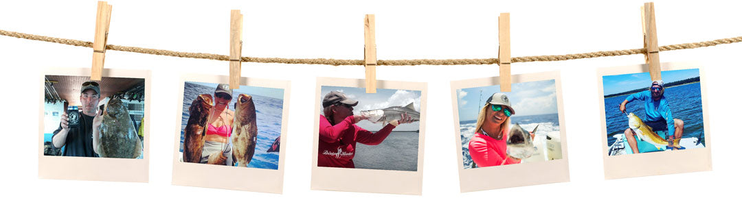 Image of dirty hooker fishing photos hanging on a clothesline