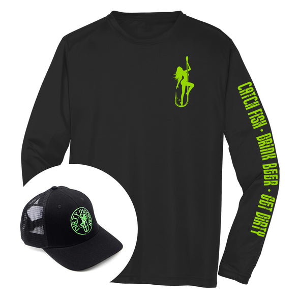 Dirty Hooker COMBO: Black Dry Fit with DH Classic Green  & Black Premium Hat