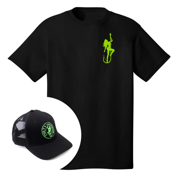 Dirty Hooker COMBO: Black T-Shirt with DH Classic Green & Premium Black Hat