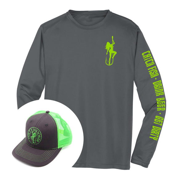 Dirty Hooker COMBO: Classic Green Dry Fit & Charcoal and Green Deluxe Hat