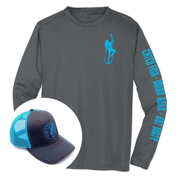 Dirty Hooker COMBO: Charcoal Dry Fit with Classic Light Blue & Charcoal and Light Blue Hat